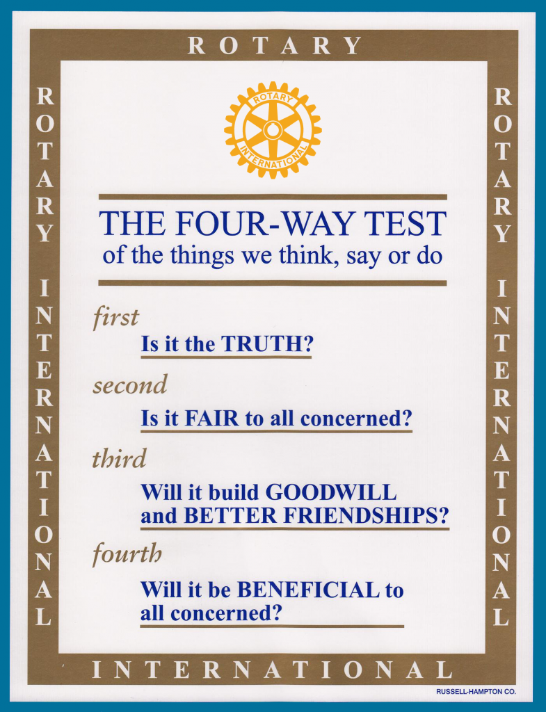 Rotarian 4 Way Test
