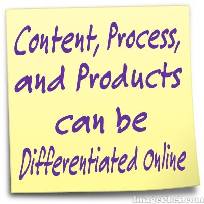 Content, Process and Product can be differentiated online