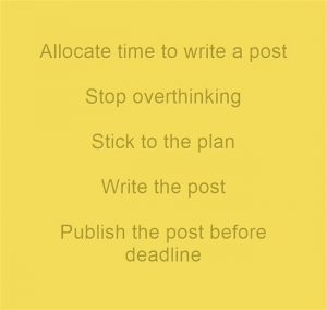 Allocate time to write a post, stop overthinking, stick to the plan, write the post, publish the  post before the deadline