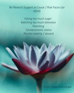 no-reserch-support-as-cause-risk-facors-for-adhd-eating-too much suugar, parents, martial status or socioeconomcal status of parents